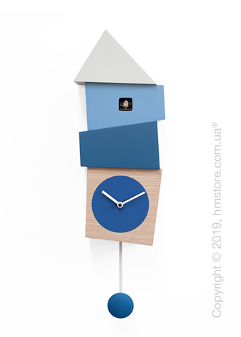 Часы настенные Progetti Crooked Wall Clock, Light Wood and Blue