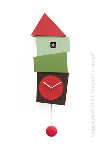 Часы настенные Progetti Crooked Wall Clock, Dark Wood, Red and Green