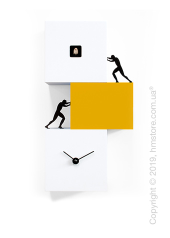 Часы настенные Progetti Strong Cucù 2 Wall Clock, White and Yellow