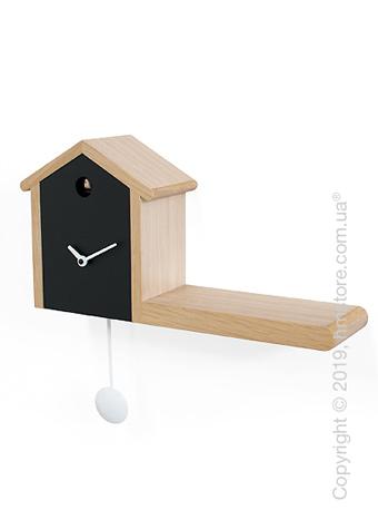Часы настенные Progetti My House Wall Clock, Light and Black Wood