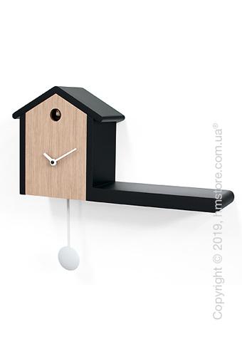 Часы настенные Progetti My House Wall Clock, Black and Light Wood