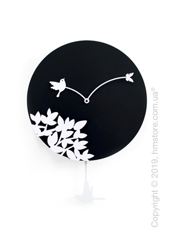 Часы настенные Progetti Little bird's story Wall Clock, Black and White