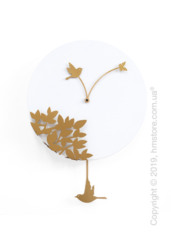 Часы настенные Progetti Little bird's story Wall Clock, White and Gold