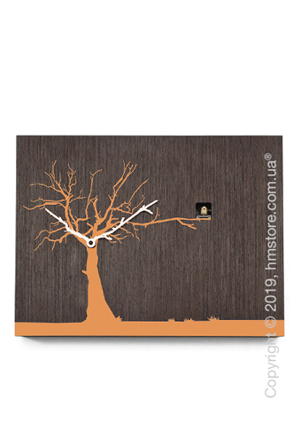 Часы настенные Progetti CùCùRùKù Wall Clock, Natural Wenge, Orange Tree