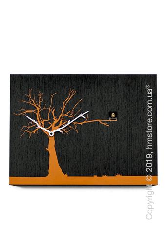 Часы настенные Progetti CùCùRùKù Wall Clock, Black Wenge, Orange Tree