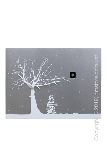 Часы настенные Progetti CùCùRùKù Wall Clock, Silver, White Tree