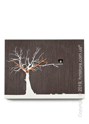 Часы настенные Progetti CùCùRùKù Wall Clock, Natural Wenge, White Tree