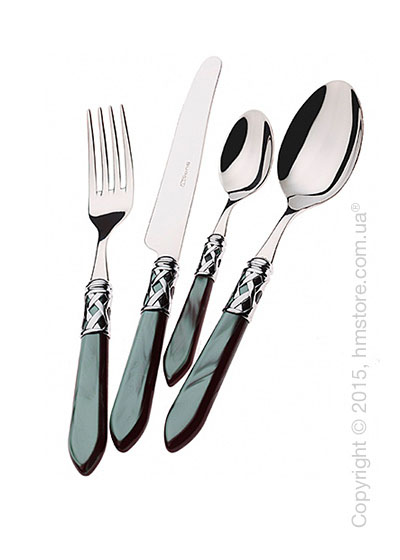 Набор столовых приборов Bugatti Aladdin коллекция Chromed Metal Ring на 6 персон, 24 предмета, Black