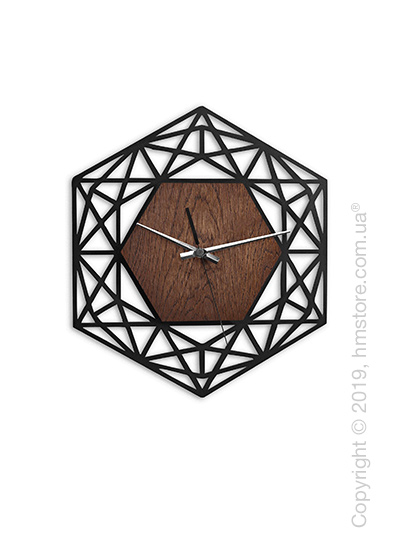 Часы настенные деревянные Moku Design Ginza 38*38 см, Rosewood and Black