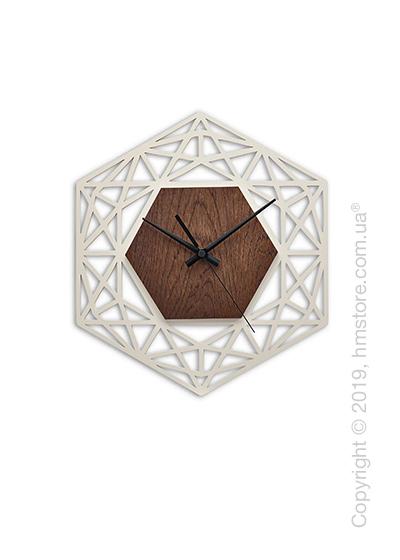 Часы настенные деревянные Moku Design Ginza 48*48 см, Rosewood and White