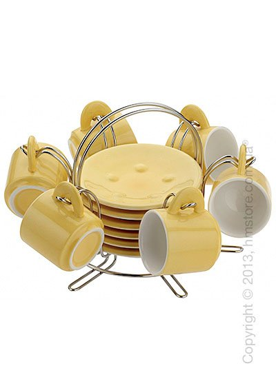 Набор чашек на подставке Bugatti Pret A Porter, Желтый