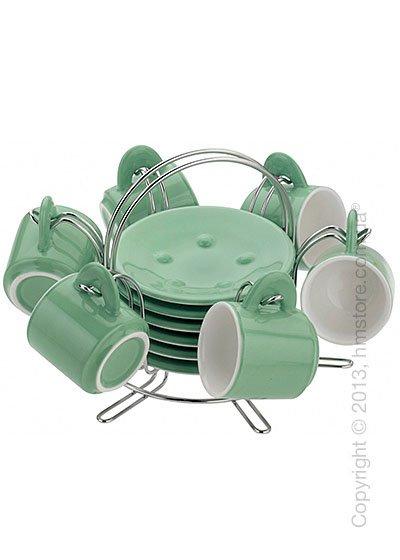 Набор чашек на подставке Bugatti Pret A Porter, Зеленый