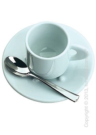 Набор из 2 кофейных чашек с блюдцами и ложками Bugatti Perla, Белый