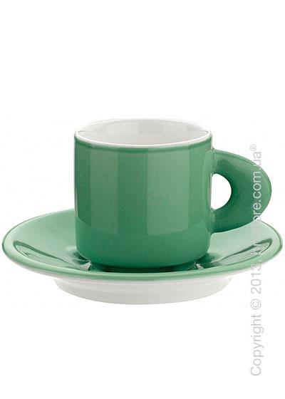 Набор из 2 кофейных чашек с блюдцами и ложками Bugatti Perla, Зеленый
