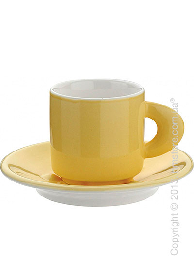 Набор из 2 кофейных чашек с блюдцами и ложками Bugatti Perla, Желтый