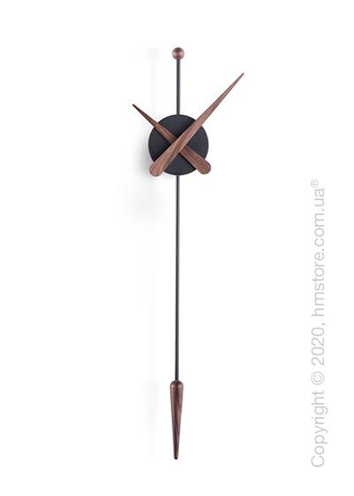Часы настенные Nomon Punta Wall Clock, Black fiberglass and Walnut