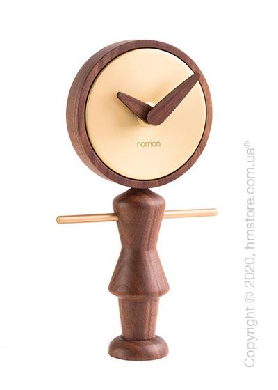 Часы настольные Nomon Nena Table Clock, Walnut and Gold