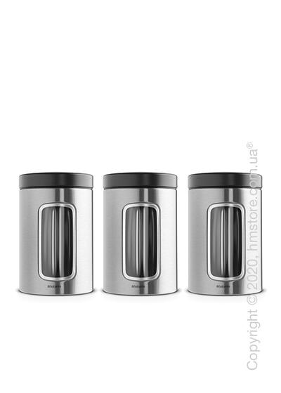 Набор емкостей для хранения сыпучих продуктов Brabantia Window 1,4 л, Matt Steel Fingerprint Proof