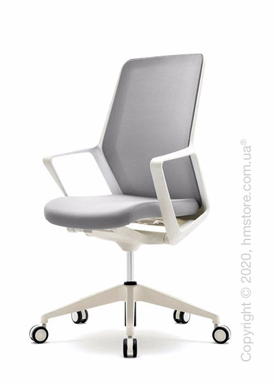 Кресло офисное на колесиках Enran Flo High, White and Grey