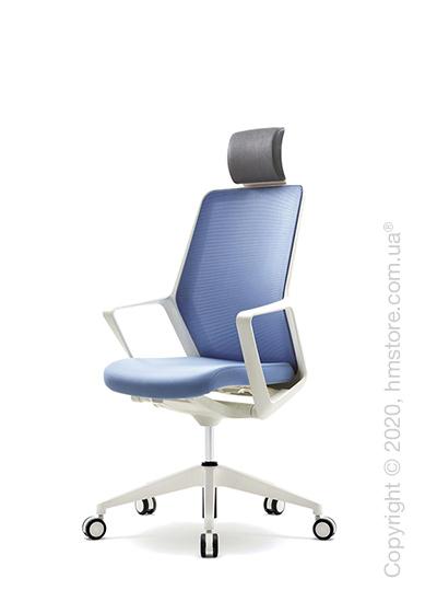 Кресло офисное с подголовником Enran Flo Mid, White and Blue