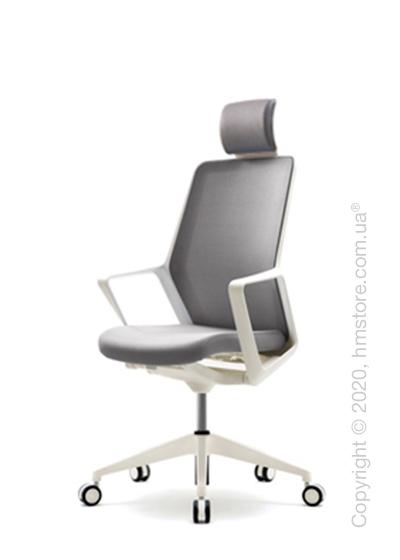 Кресло офисное с подголовником Enran Flo Mid, White and Grey