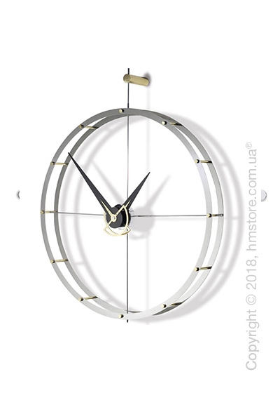 Часы настенные Nomon DOBLE O Wall Clock, Steel/Gold and Wenge