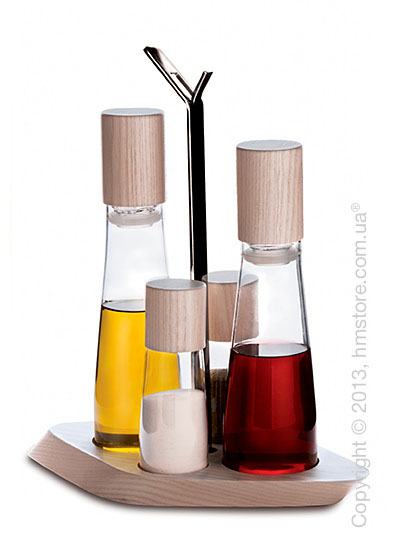 Набор емкостей для масла, уксуса, соли и перца на подставке Bugatti Trattoria Oil & Vinegar + Salt & Pepper
