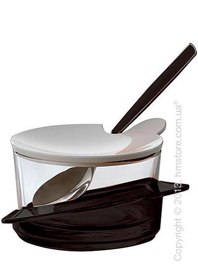 Емкость для пармезана / сахарница с ложкой Bugatti Glamour Parmesan Cheese Bowl, Черная