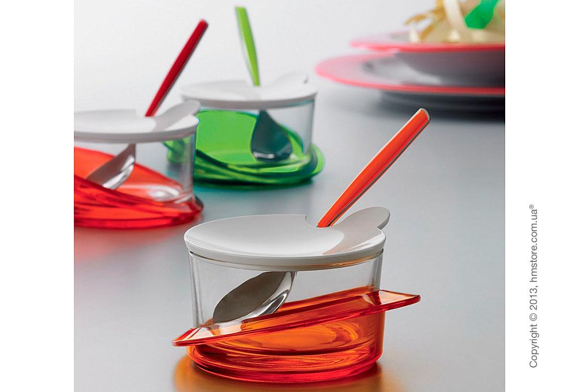 Емкость для пармезана / сахарница с ложкой Bugatti Glamour Parmesan Cheese Bowl, Красная