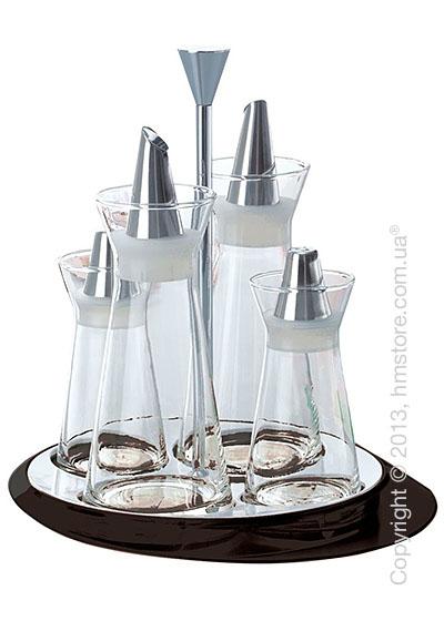 Набор емкостей на подставке Bugatti Glamour Oil & Vinegar + Salt & Pepper, Черный