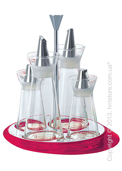 Набор емкостей на подставке Bugatti Glamour Oil & Vinegar + Salt & Pepper, Сиреневый