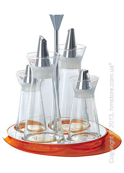 Набор емкостей на подставке Bugatti Glamour Oil & Vinegar + Salt & Pepper, Оранжевый
