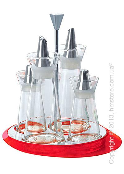 Набор емкостей на подставке Bugatti Glamour Oil & Vinegar + Salt & Pepper, Красный