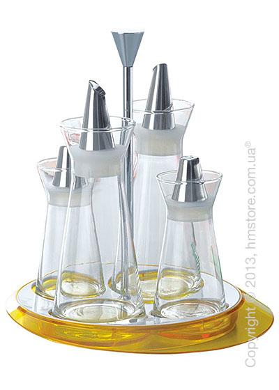 Набор емкостей на подставке Bugatti Glamour Oil & Vinegar + Salt & Pepper, Желтый