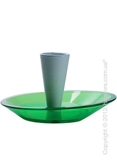 Набор емкости для зубочисток и тарелки для закусок Bugatti Glamour Snack Plates and Toothpick Holder, Зеленый