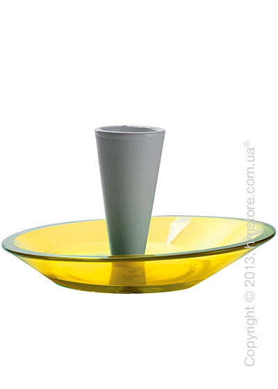 Набор емкости для зубочисток и тарелки для закусок Bugatti Glamour Snack Plates and Toothpick Holder, Желтый
