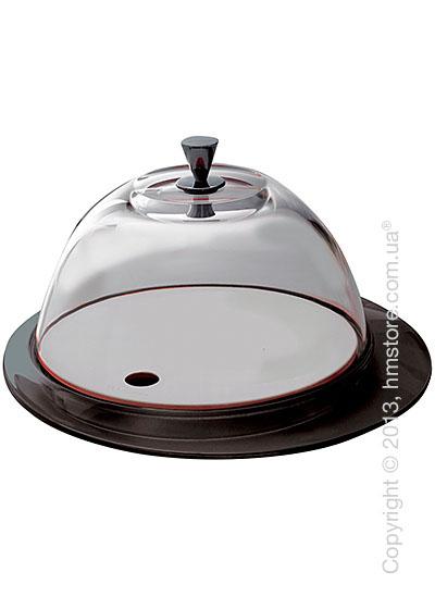 Блюдо с крышкой Bugatti Glamour Cake Tray and Food Tray with Glass Cover, Черное