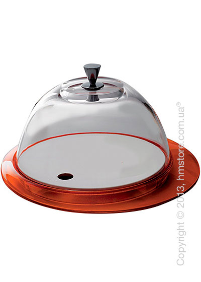 Блюдо с крышкой Bugatti Glamour Cake Tray and Food Tray with Glass Cover, Оранжевое