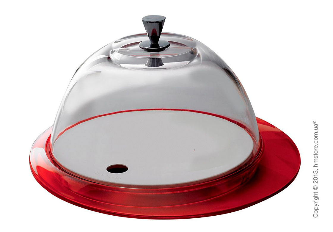 Блюдо с крышкой Bugatti Glamour Cake Tray and Food Tray with Glass Cover, Красное