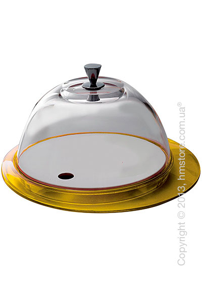 Блюдо с крышкой Bugatti Glamour Cake Tray and Food Tray with Glass Cover, Желтое