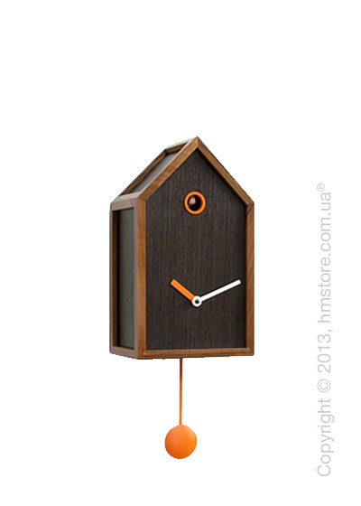 Часы настенные Progetti Mr. Orange Wall Clock, Dark Wood