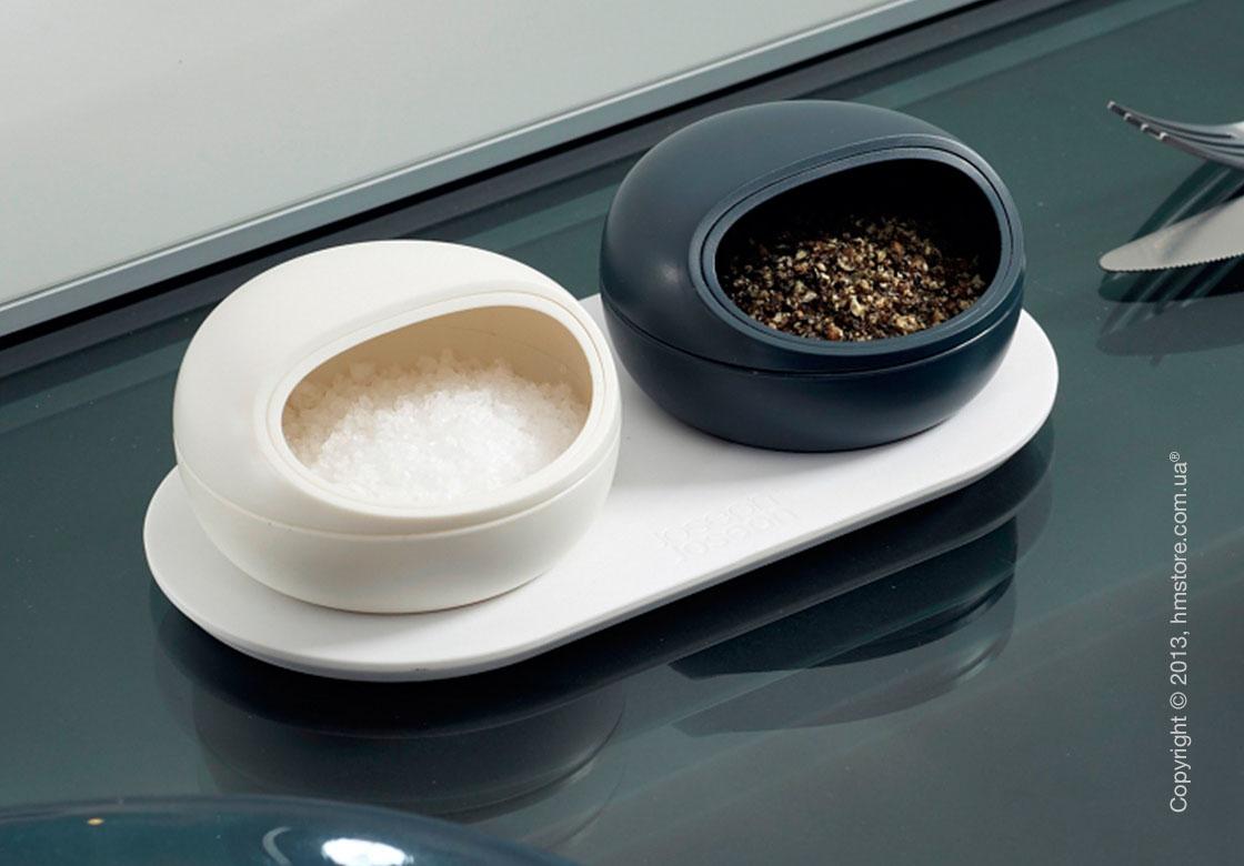 Емкости для хранения специй Joseph Joseph Ovi Salt and Pepper Pinch Pots, Бело-черные