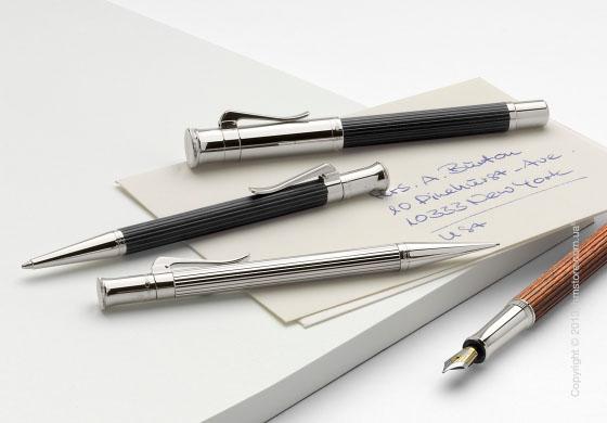 Ручка шариковая Graf von Faber-Castell серия Classic, коллекция Platinum-Plated, Finely Fluted