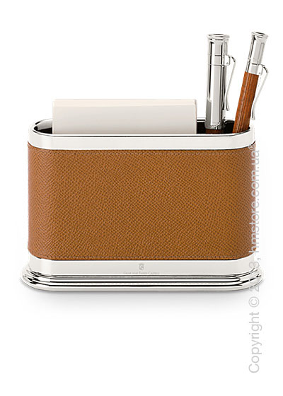 Подставка для ручек овальной формы Graf von Faber-Castell, Cognac Grained Leather
