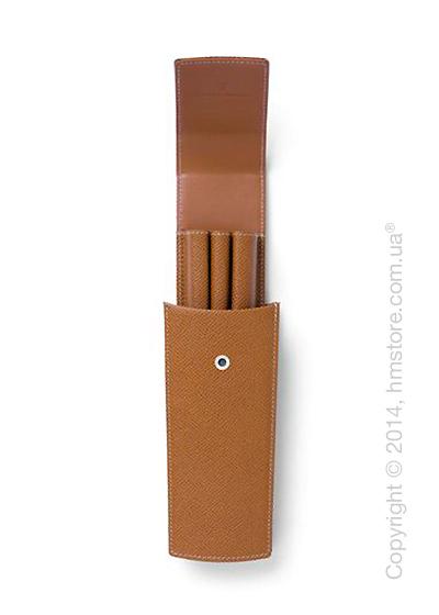Кожаный пенал Graf von Faber-Castell Sliding Case For 3 Pens, Brown, Grained Leather