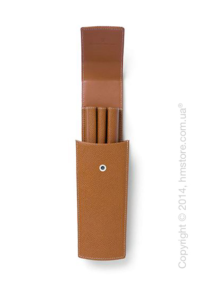 Кожаный пенал Graf von Faber-Castell Sliding Case For 3 Pens, Cognac Grained Leather