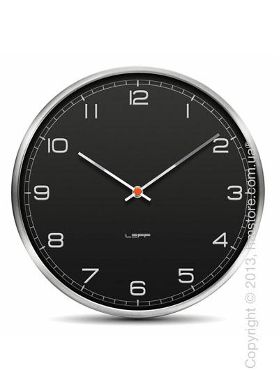 Часы настенные LEFF Amsterdam wall clock one25 black alu stainless steel embossed arabic
