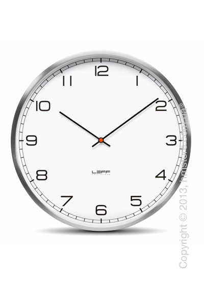 Часы настенные LEFF Amsterdam wall clock one25 white alu stainless steel embossed arabic