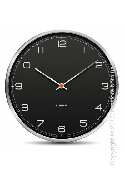 Часы настенные LEFF Amsterdam wall clock one35 black alu stainless steel embossed arabic