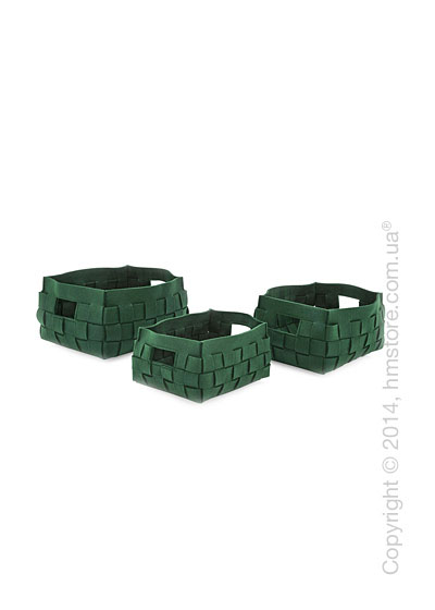 Набор корзин Calligaris Alvin, 3 предмета, Polyester felt green